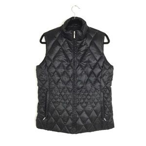 Land's End Black Diamond Quilted Goose Down & Feather Vest Size Medium 10-12